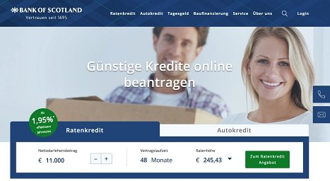 Bank of Scotland Kredit online beantragen