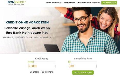 Ratenkredit von Bon-Kredit online beantragen
