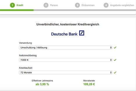 Onlinekredit der Deutschen Bank hier beantragen