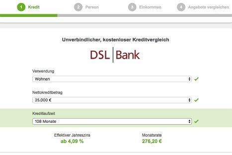 Hier DSL Ratenkredit online beantragen