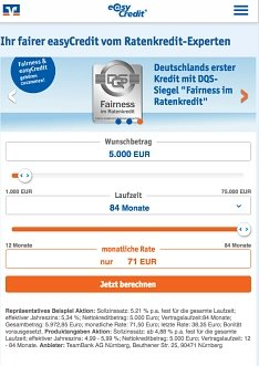 Ratenkredit von easycredit