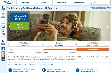 easycredit Ratenkredit online beantragen