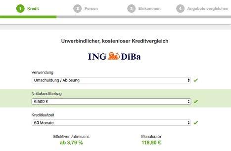 Onlinekredit der ING DiBa beantragen