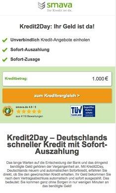 Onlinekredit von kredit2day hier aufnehmen
