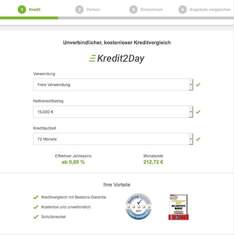 Seriöse Kreditanfrage bei Kredit2Day