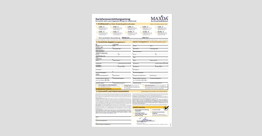 Antrag für den MAXDA-Kredit