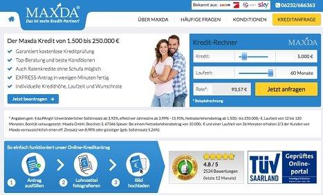 Ratenkredit von Maxda online beantragen