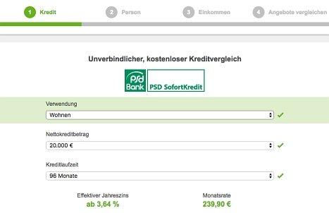 Kreditanfrage für den PSD Bank Kredit hier stellen