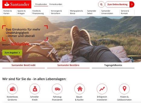 Onlinekredit von Santander hier anfragen
