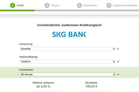 Hier SKG Bank Kredit beantragen