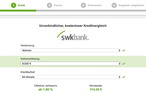 Kredit bei der SWK Bank hier anfragen