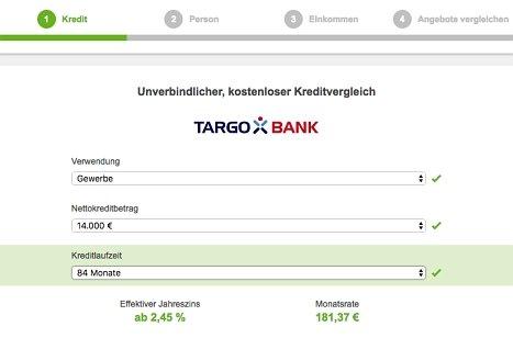 Online Kreditanfrage bei der Targobank