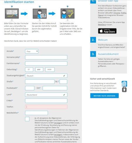 Web ID Antrag für Darlehen